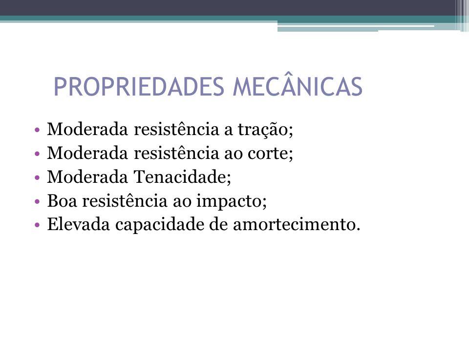 PROPRIEDADES MECÂNICAS Moderada resistência a tração; Moderada resistência ao corte; Moderada Tenacidade; Boa resistência ao impacto; Elevada capacida