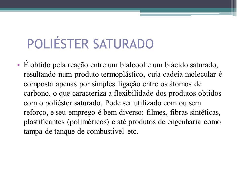 POLIÉSTER SATURADO É obtido pela reação entre um biálcool e um biácido saturado, resultando num produto termoplástico, cuja cadeia molecular é compost