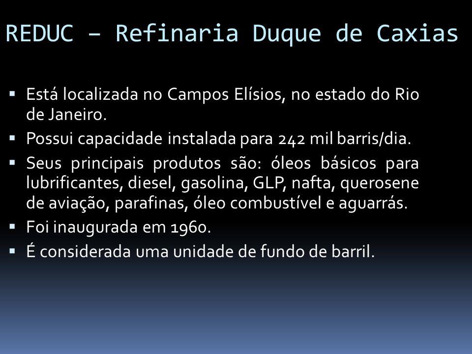 REDUC – Refinaria Duque de Caxias Está localizada no Campos Elísios, no estado do Rio de Janeiro. Possui capacidade instalada para 242 mil barris/dia.