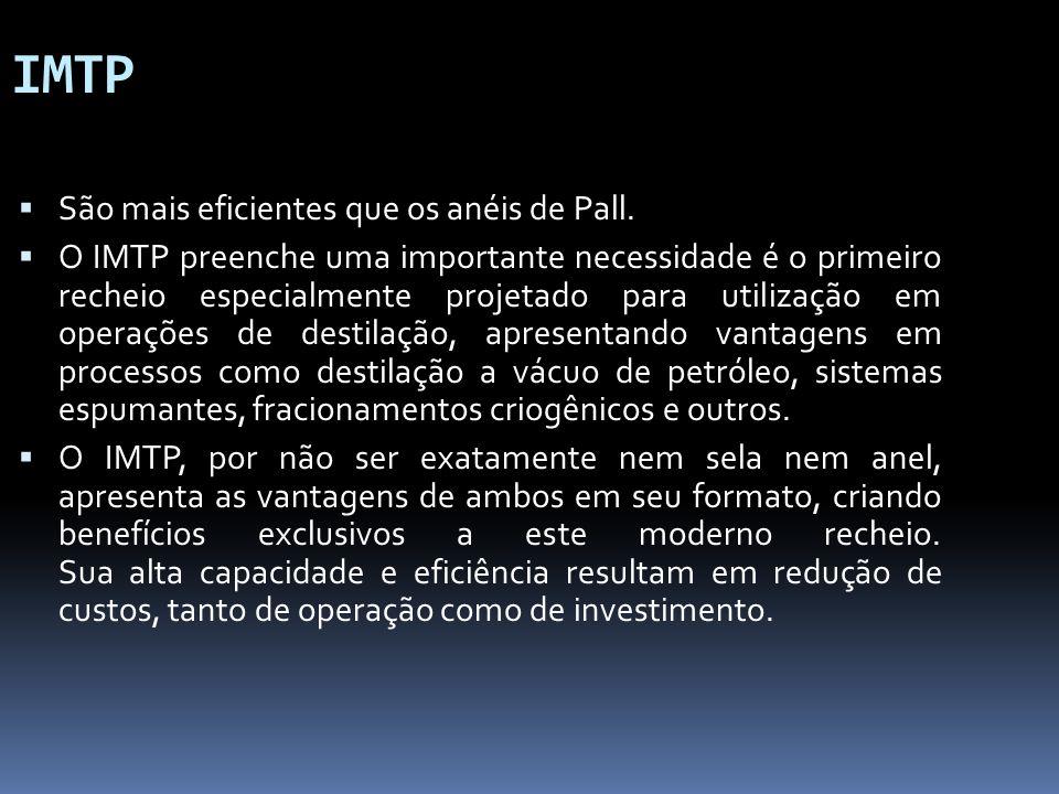 IMTP São mais eficientes que os anéis de Pall. O IMTP preenche uma importante necessidade é o primeiro recheio especialmente projetado para utilização