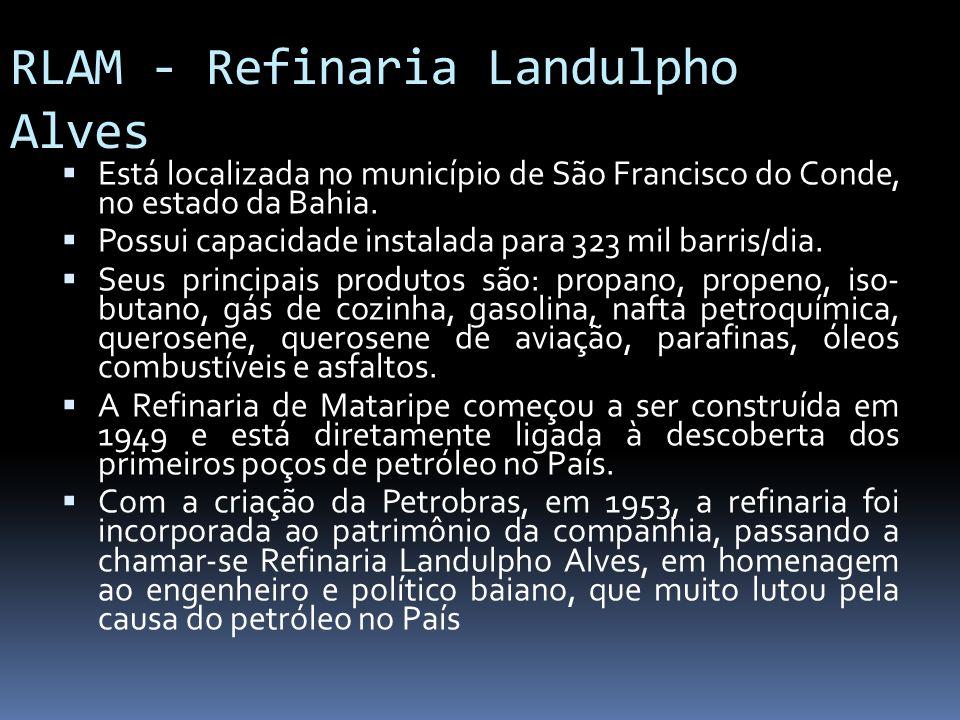 RLAM - Refinaria Landulpho Alves Está localizada no município de São Francisco do Conde, no estado da Bahia. Possui capacidade instalada para 323 mil