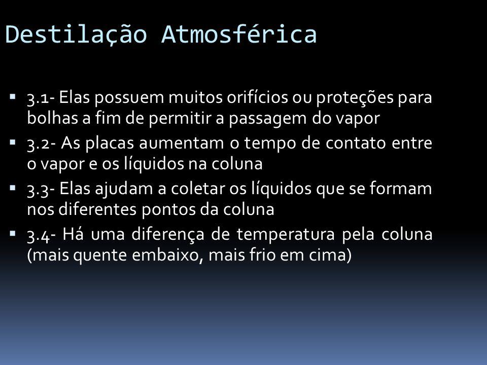 Destilação Atmosférica 3.1- Elas possuem muitos orifícios ou proteções para bolhas a fim de permitir a passagem do vapor 3.2- As placas aumentam o tem