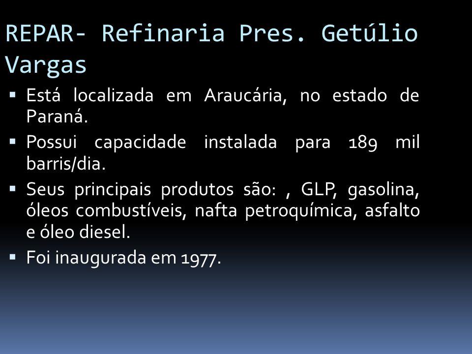 REPAR- Refinaria Pres. Getúlio Vargas Está localizada em Araucária, no estado de Paraná. Possui capacidade instalada para 189 mil barris/dia. Seus pri