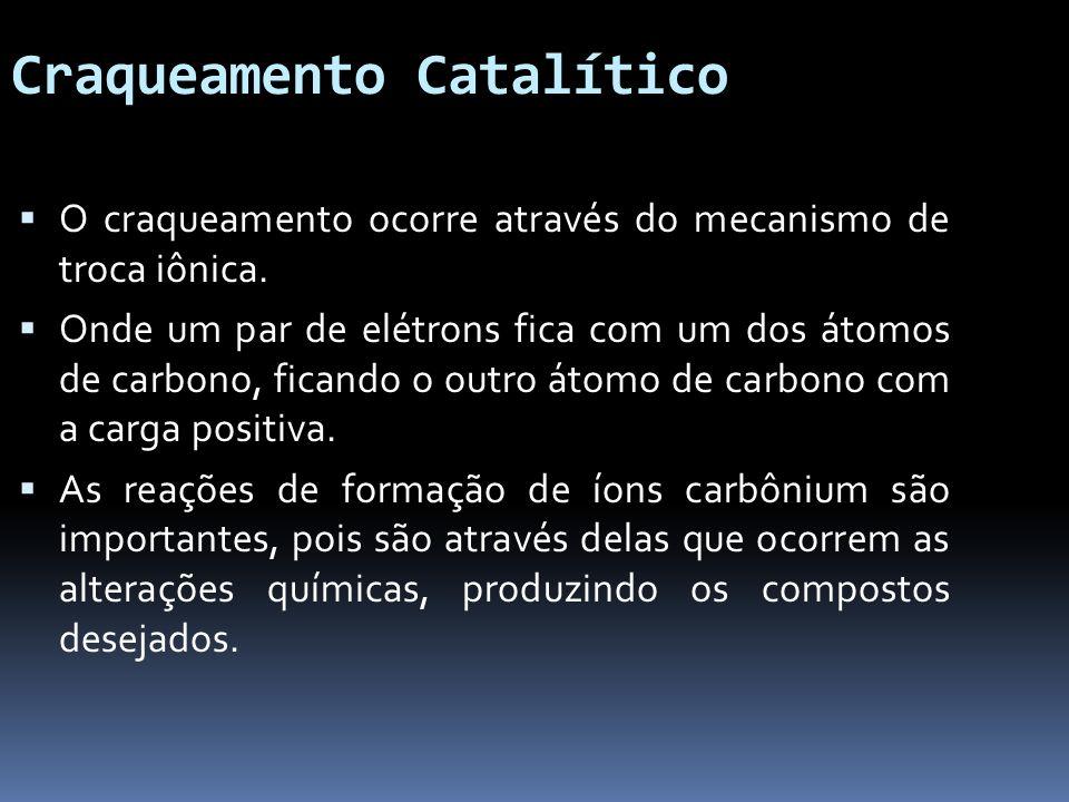 Craqueamento Catalítico O craqueamento ocorre através do mecanismo de troca iônica. Onde um par de elétrons fica com um dos átomos de carbono, ficando