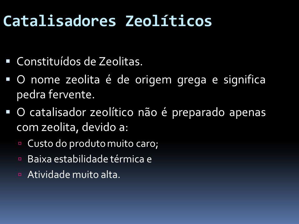 Catalisadores Zeolíticos Constituídos de Zeolitas. O nome zeolita é de origem grega e significa pedra fervente. O catalisador zeolítico não é preparad