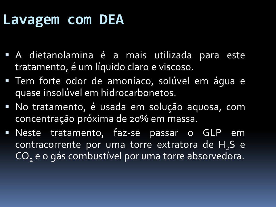 Lavagem com DEA A dietanolamina é a mais utilizada para este tratamento, é um líquido claro e viscoso. Tem forte odor de amoníaco, solúvel em água e q