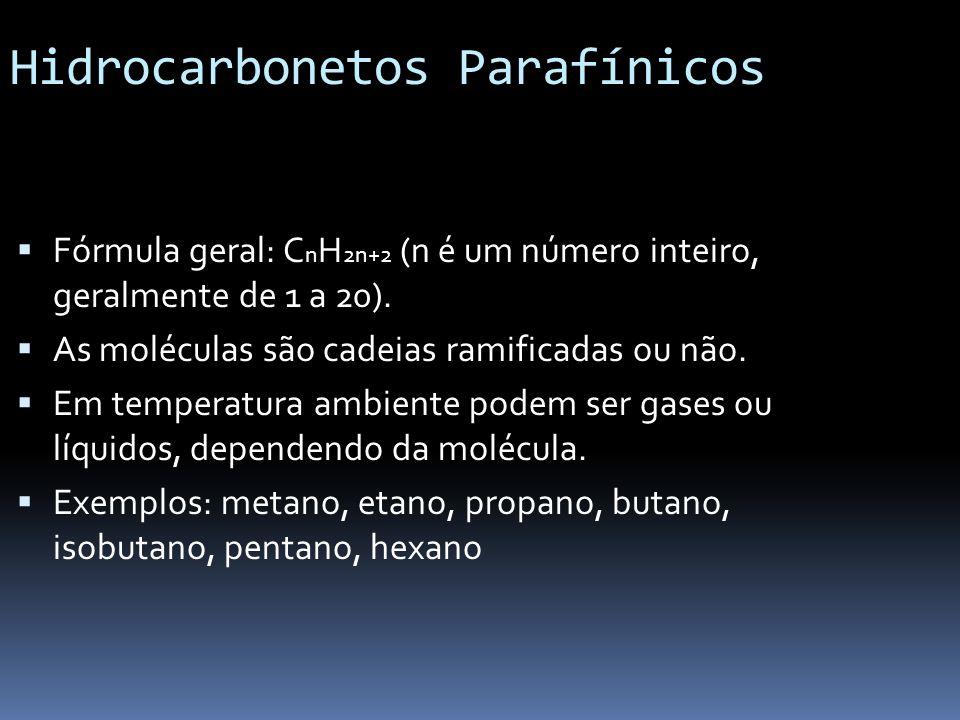 Hidrocarbonetos Parafínicos Fórmula geral: C n H 2n+2 (n é um número inteiro, geralmente de 1 a 20). As moléculas são cadeias ramificadas ou não. Em t