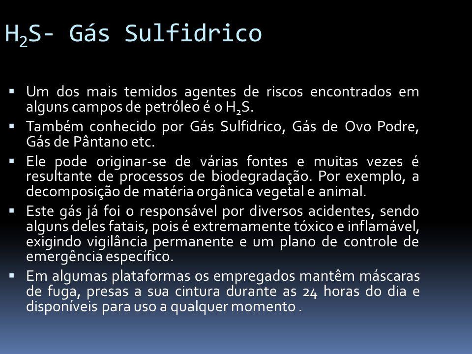 H 2 S- Gás Sulfidrico Um dos mais temidos agentes de riscos encontrados em alguns campos de petróleo é o H 2 S. Também conhecido por Gás Sulfidrico, G