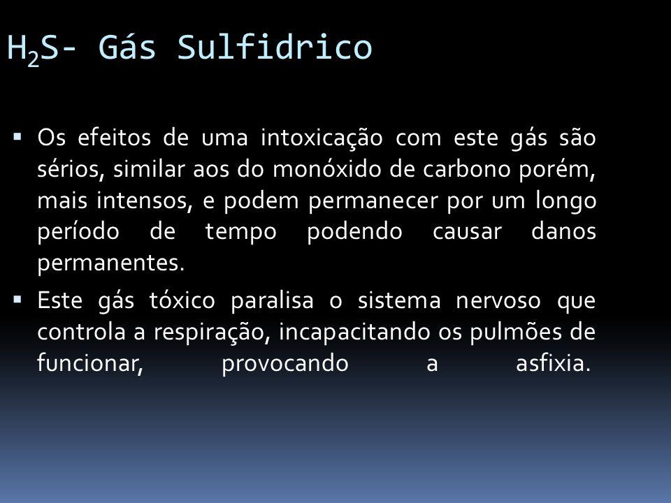 H 2 S- Gás Sulfidrico Os efeitos de uma intoxicação com este gás são sérios, similar aos do monóxido de carbono porém, mais intensos, e podem permanec