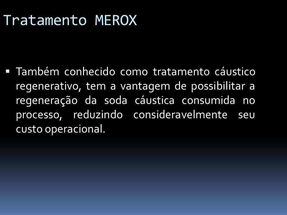 Tratamento MEROX Também conhecido como tratamento cáustico regenerativo, tem a vantagem de possibilitar a regeneração da soda cáustica consumida no pr