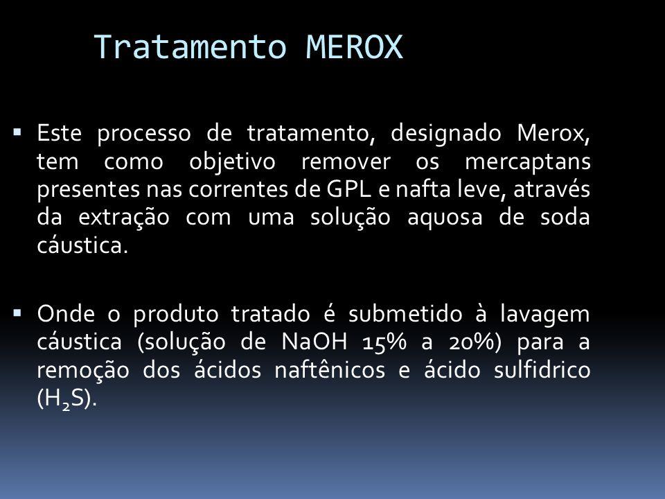 Tratamento MEROX Este processo de tratamento, designado Merox, tem como objetivo remover os mercaptans presentes nas correntes de GPL e nafta leve, at