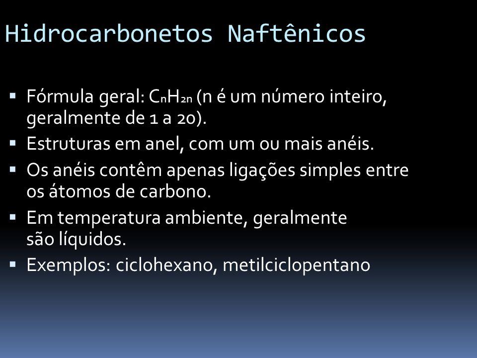 Hidrocarbonetos Naftênicos Fórmula geral: C n H 2n (n é um número inteiro, geralmente de 1 a 20). Estruturas em anel, com um ou mais anéis. Os anéis c
