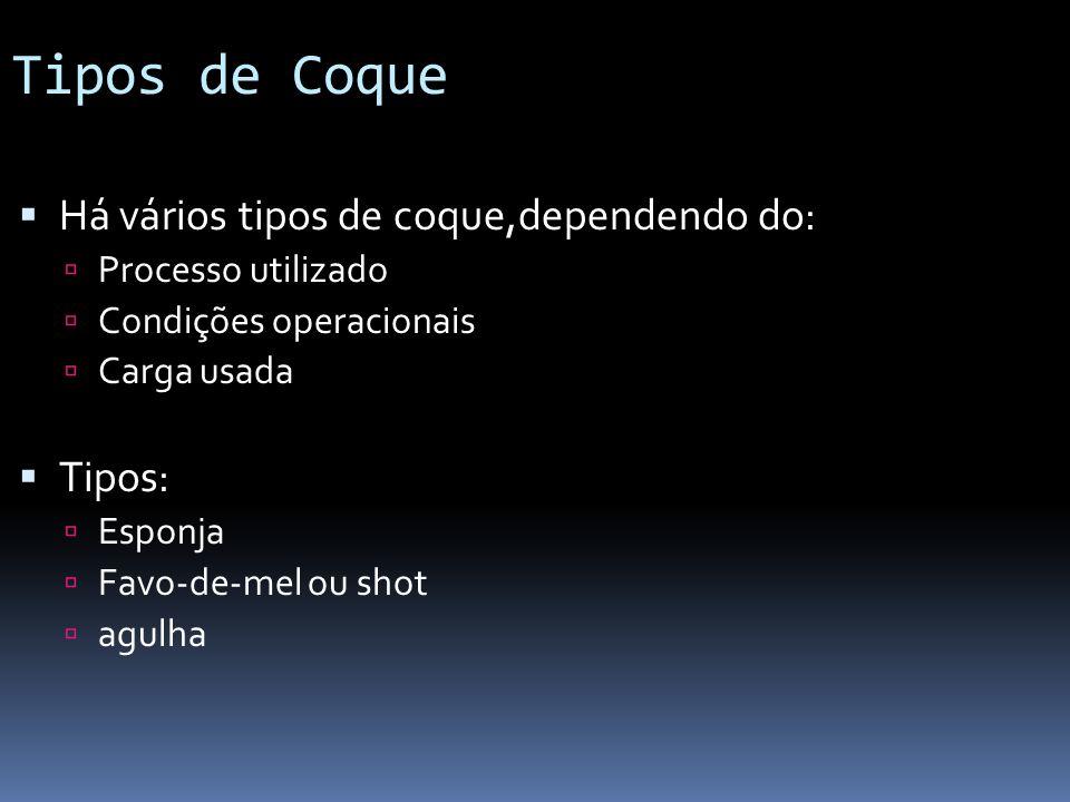 Tipos de Coque Há vários tipos de coque,dependendo do: Processo utilizado Condições operacionais Carga usada Tipos: Esponja Favo-de-mel ou shot agulha