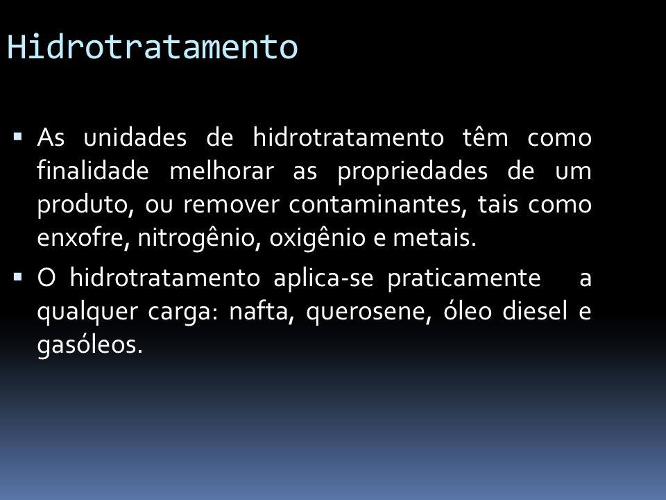 Hidrotratamento As unidades de hidrotratamento têm como finalidade melhorar as propriedades de um produto, ou remover contaminantes, tais como enxofre