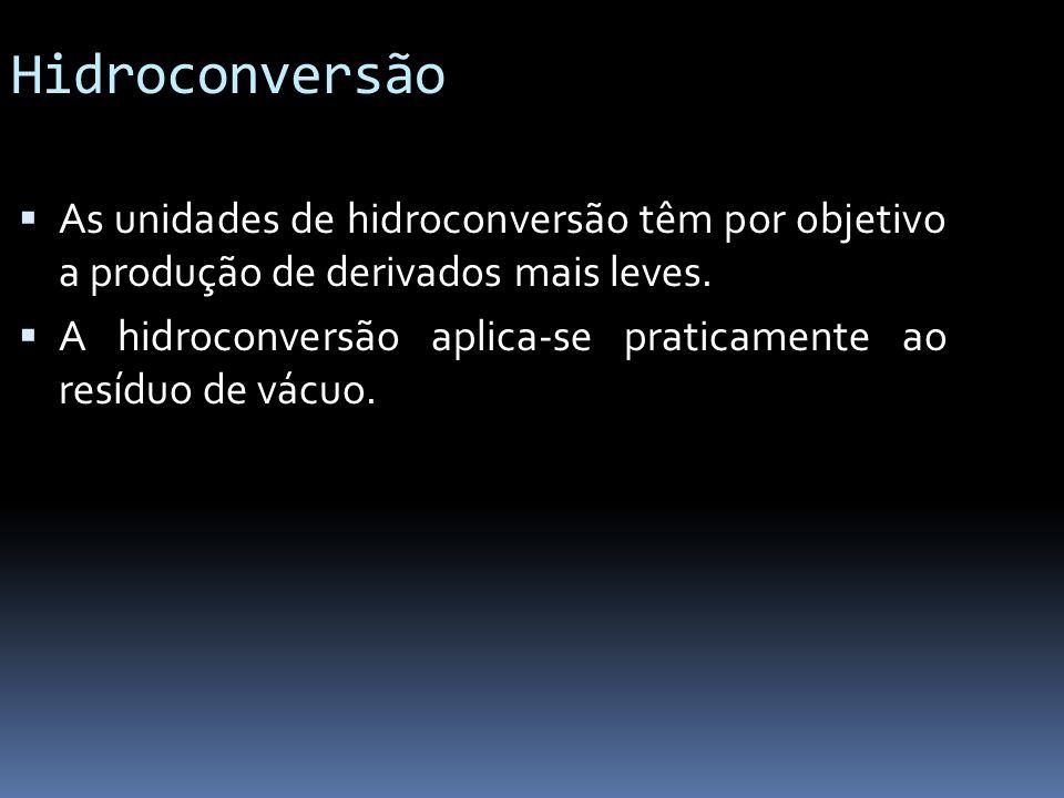 Hidroconversão As unidades de hidroconversão têm por objetivo a produção de derivados mais leves. A hidroconversão aplica-se praticamente ao resíduo d