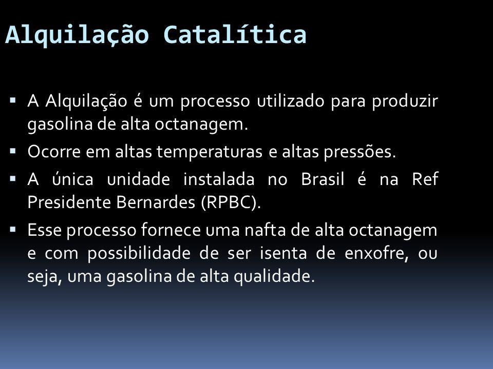 Alquilação Catalítica A Alquilação é um processo utilizado para produzir gasolina de alta octanagem. Ocorre em altas temperaturas e altas pressões. A