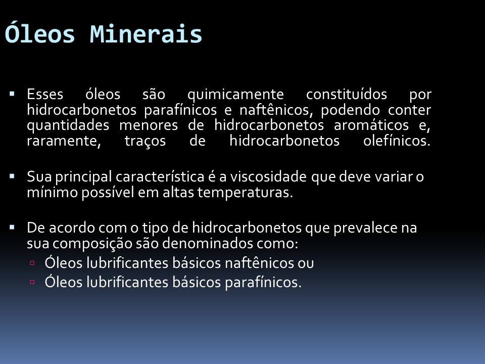Óleos Minerais Esses óleos são quimicamente constituídos por hidrocarbonetos parafínicos e naftênicos, podendo conter quantidades menores de hidrocarb