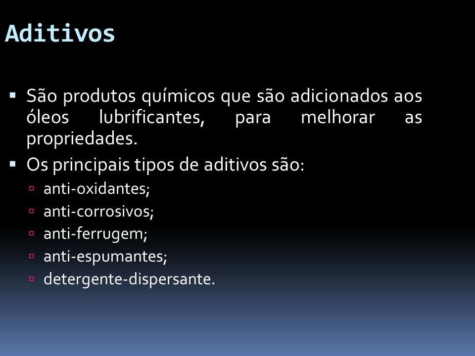 Aditivos São produtos químicos que são adicionados aos óleos lubrificantes, para melhorar as propriedades. Os principais tipos de aditivos são: anti-o