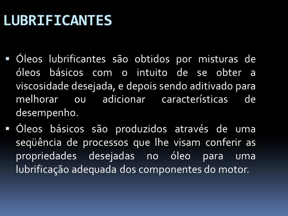 LUBRIFICANTES Óleos lubrificantes são obtidos por misturas de óleos básicos com o intuito de se obter a viscosidade desejada, e depois sendo aditivado
