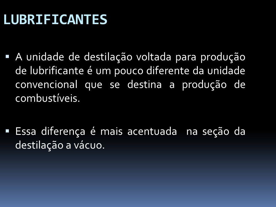LUBRIFICANTES A unidade de destilação voltada para produção de lubrificante é um pouco diferente da unidade convencional que se destina a produção de