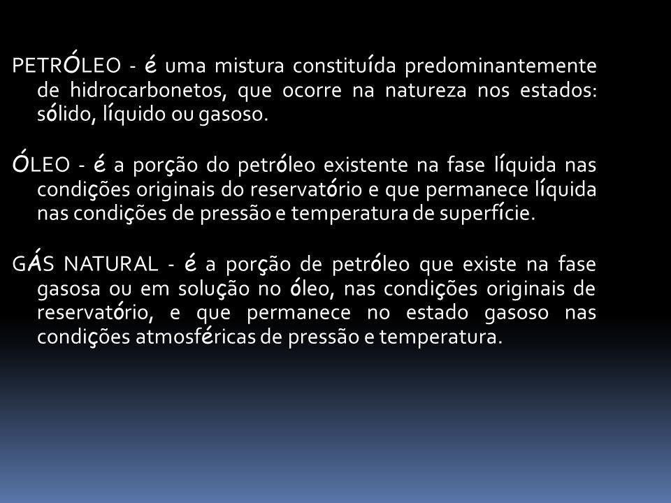 PETR Ó LEO - é uma mistura constitu í da predominantemente de hidrocarbonetos, que ocorre na natureza nos estados: s ó lido, l í quido ou gasoso. Ó LE