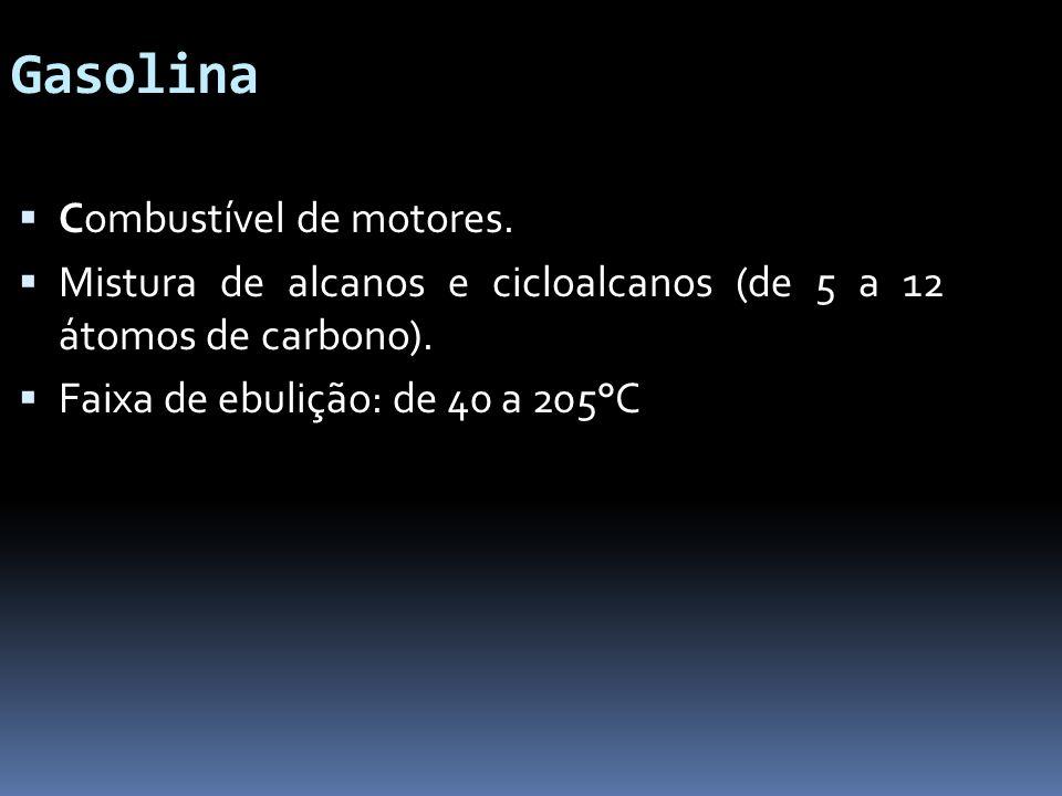 Gasolina Combustível de motores. Mistura de alcanos e cicloalcanos (de 5 a 12 átomos de carbono). Faixa de ebulição: de 40 a 205°C