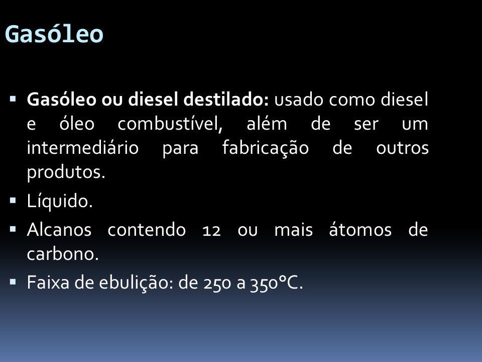 Gasóleo Gasóleo ou diesel destilado: usado como diesel e óleo combustível, além de ser um intermediário para fabricação de outros produtos. Líquido. A