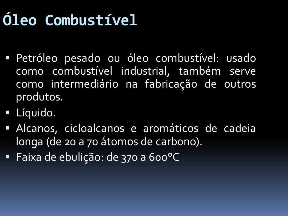 Óleo Combustível Petróleo pesado ou óleo combustível: usado como combustível industrial, também serve como intermediário na fabricação de outros produ