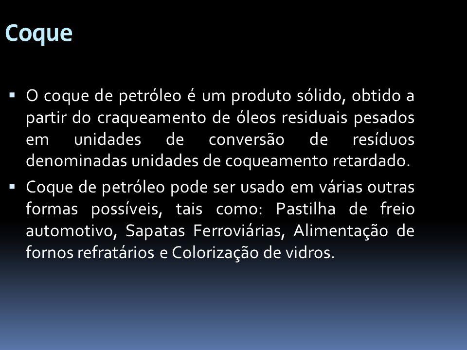 Coque O coque de petróleo é um produto sólido, obtido a partir do craqueamento de óleos residuais pesados em unidades de conversão de resíduos denomin