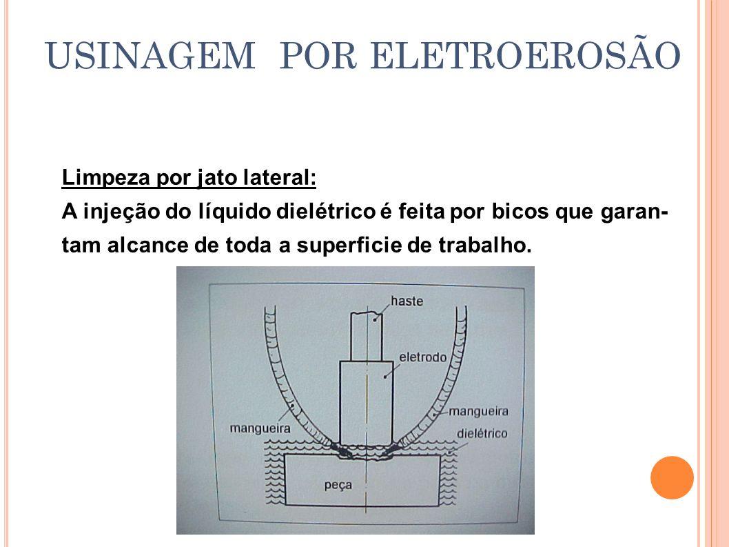 USINAGEM POR ELETROEROSÃO Limpeza por jato lateral: A injeção do líquido dielétrico é feita por bicos que garan- tam alcance de toda a superficie de t