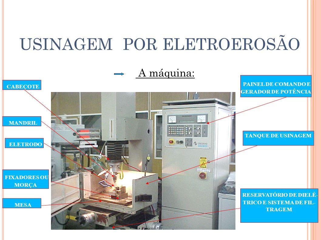 USINAGEM POR ELETROEROSÃO Atualmente, a eletroerosão a fio é bastante usada na in- dustria para confecção de placas de guia, porta punções e matrizes ( ferramentas de corte dobra e repuxo ) 100mm