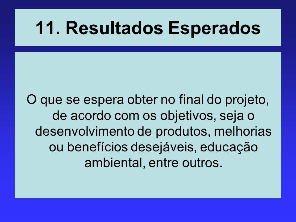 11. Resultados Esperados O que se espera obter no final do projeto, de acordo com os objetivos, seja o desenvolvimento de produtos, melhorias ou benef