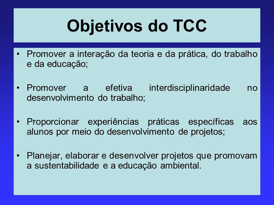 Objetivos do TCC Promover a interação da teoria e da prática, do trabalho e da educação; Promover a efetiva interdisciplinaridade no desenvolvimento d