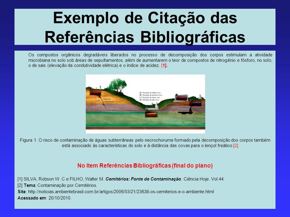 Exemplo de Citação das Referências Bibliográficas Os compostos orgânicos degradáveis liberados no processo de decomposição dos corpos estimulam a ativ