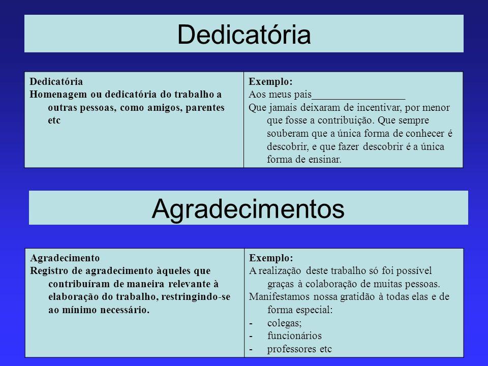 Dedicatória Homenagem ou dedicatória do trabalho a outras pessoas, como amigos, parentes etc Exemplo: Aos meus pais_________________ Que jamais deixar