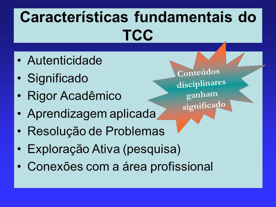 Características fundamentais do TCC Autenticidade Significado Rigor Acadêmico Aprendizagem aplicada Resolução de Problemas Exploração Ativa (pesquisa)