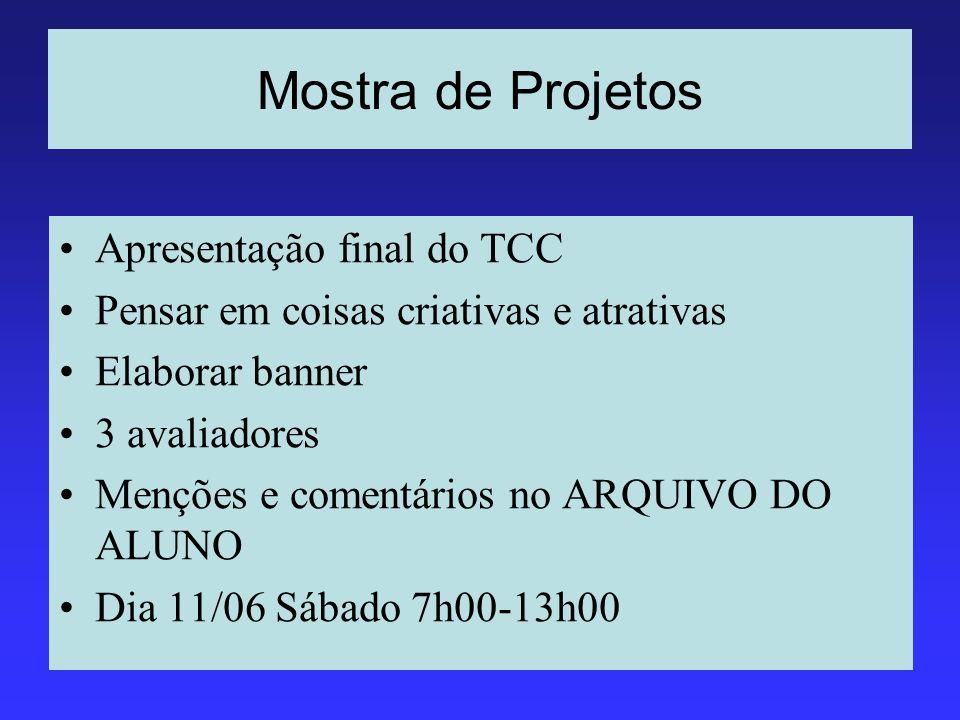 Mostra de Projetos Apresentação final do TCC Pensar em coisas criativas e atrativas Elaborar banner 3 avaliadores Menções e comentários no ARQUIVO DO