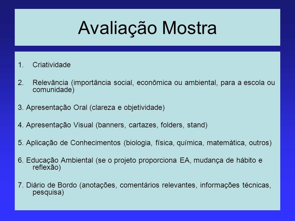 Avaliação Mostra 1.Criatividade 2.Relevância (importância social, econômica ou ambiental, para a escola ou comunidade) 3. Apresentação Oral (clareza e