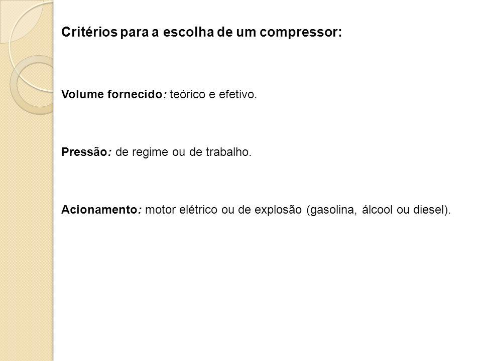 Critérios para a escolha de um compressor: Volume fornecido: teórico e efetivo. Pressão: de regime ou de trabalho. Acionamento: motor elétrico ou de e