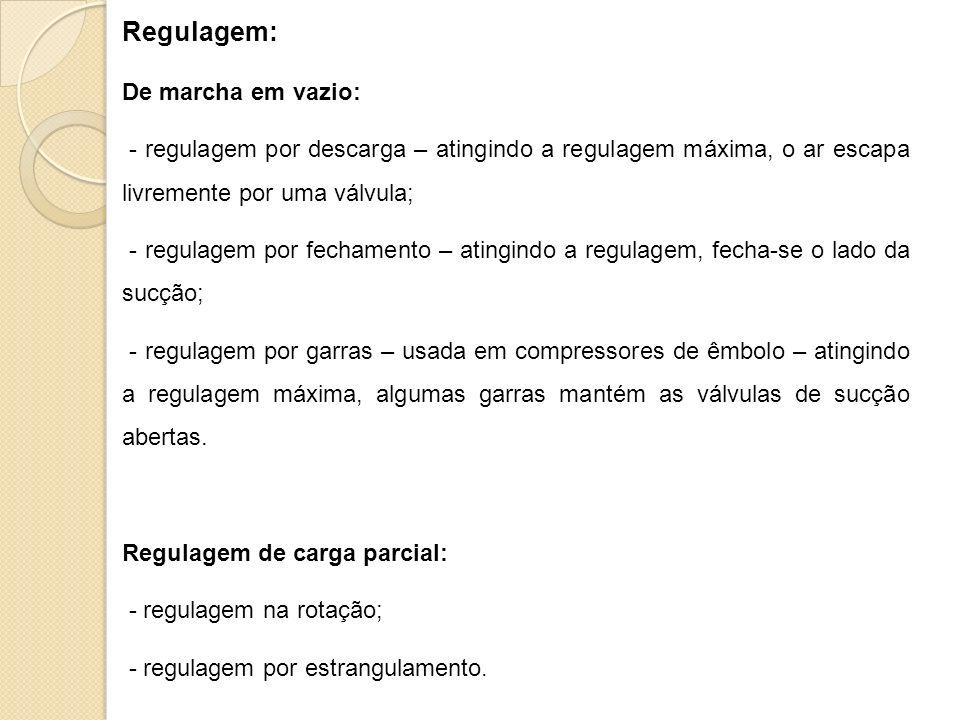 Regulagem: De marcha em vazio: - regulagem por descarga – atingindo a regulagem máxima, o ar escapa livremente por uma válvula; - regulagem por fecham