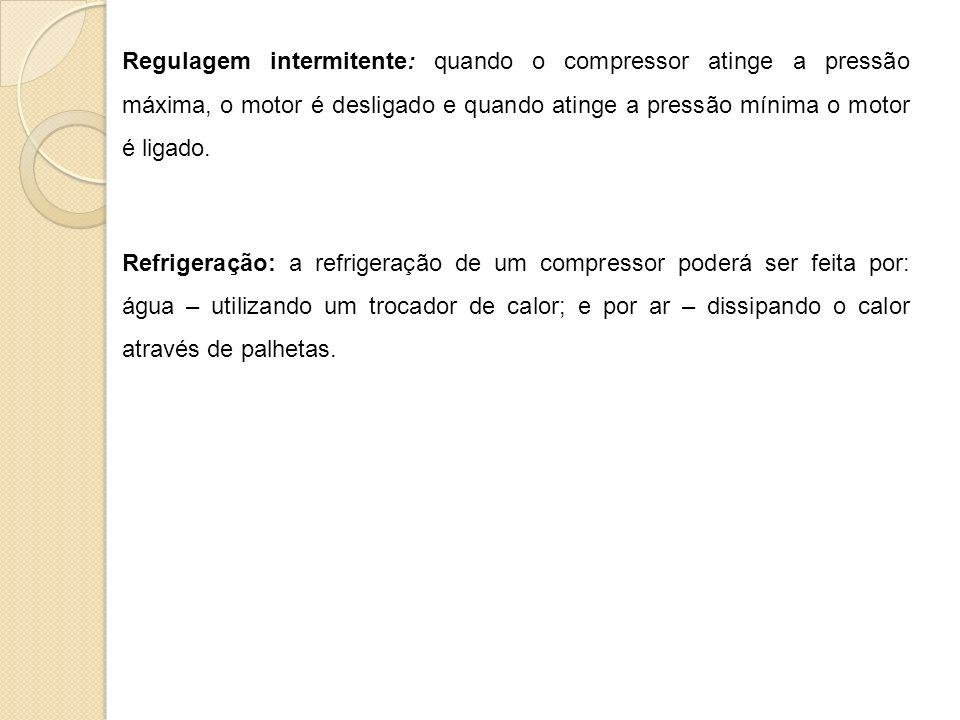 Regulagem intermitente: quando o compressor atinge a pressão máxima, o motor é desligado e quando atinge a pressão mínima o motor é ligado. Refrigeraç