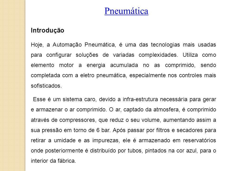 Pneumática Introdução Hoje, a Automação Pneumática, é uma das tecnologias mais usadas para configurar soluções de variadas complexidades. Utiliza como