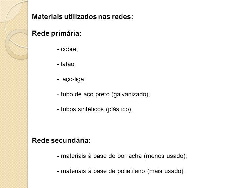 Materiais utilizados nas redes: Rede primária: - cobre; - latão; - aço-liga; - tubo de aço preto (galvanizado); - tubos sintéticos (plástico). Rede se