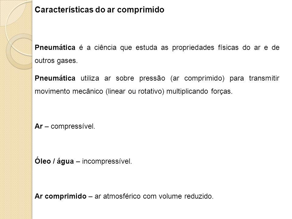 Características do ar comprimido Pneumática é a ciência que estuda as propriedades físicas do ar e de outros gases. Pneumática utiliza ar sobre pressã