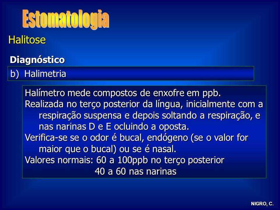 NIGRO, C. Halitose Diagnóstico b)Halimetria Breath – alert: positivo em cruzes