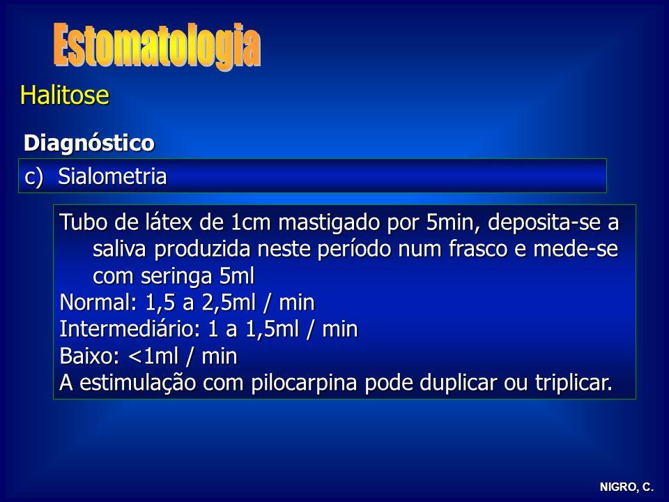 NIGRO, C. Halitose Diagnóstico c)Sialometria Tubo de látex de 1cm mastigado por 5min, deposita-se a saliva produzida neste período num frasco e mede-s
