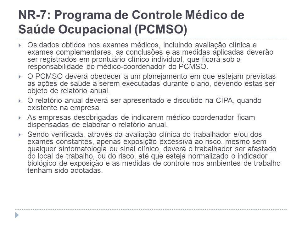 NR-7: Programa de Controle Médico de Saúde Ocupacional (PCMSO) Os dados obtidos nos exames médicos, incluindo avaliação clínica e exames complementare