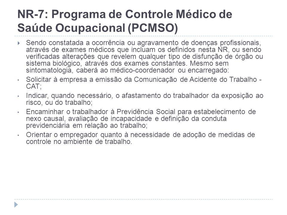 NR-7: Programa de Controle Médico de Saúde Ocupacional (PCMSO) Sendo constatada a ocorrência ou agravamento de doenças profissionais, através de exame