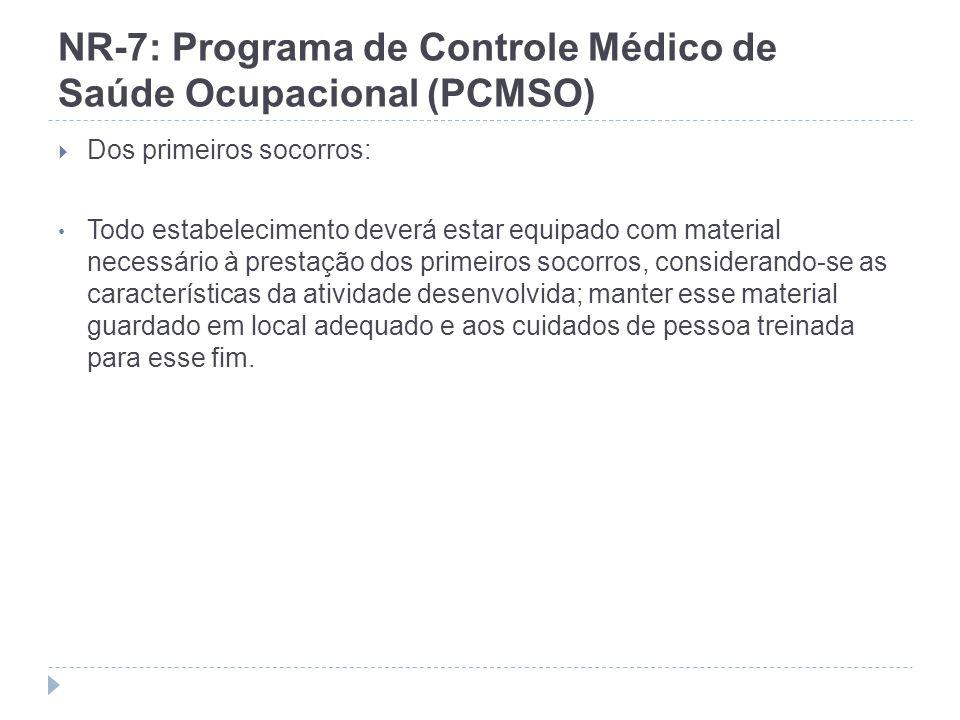 NR-7: Programa de Controle Médico de Saúde Ocupacional (PCMSO) Dos primeiros socorros: Todo estabelecimento deverá estar equipado com material necessá