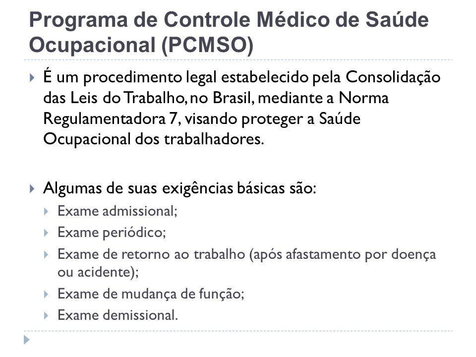 Programa de Controle Médico de Saúde Ocupacional (PCMSO) É um procedimento legal estabelecido pela Consolidação das Leis do Trabalho, no Brasil, media
